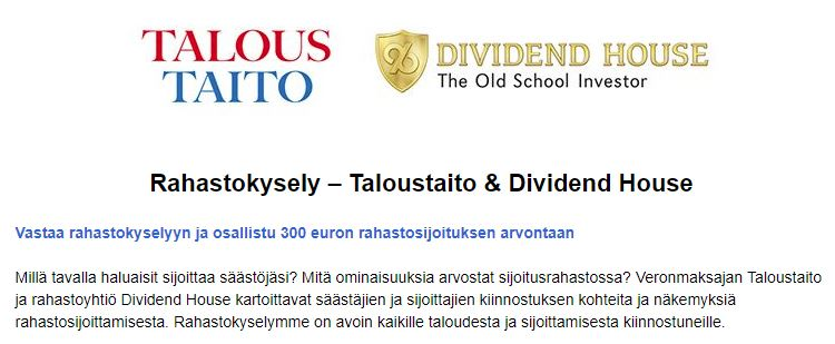 Rahastokysely – Taloustaito & Dividend House